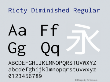 Ricty Diminished Regular Version 4.0.0图片样张