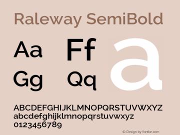 Raleway SemiBold Version 2.001; ttfautohint (v0.8) -G 200 -r 50 Font Sample