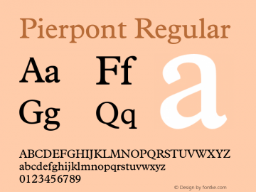 Pierpont Regular Version 1.070 Font Sample
