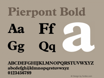 Pierpont Bold Version 1.070 Font Sample