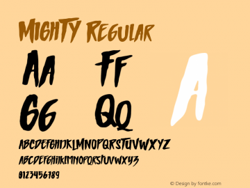 MIGHTY Regular Unknown Font Sample