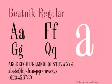 Beatnik Regular Version 001.000 Font Sample