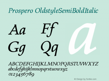 Prospero OldstyleSemiBoldItalic Altsys Fontographer 4.0.3 23.03.1995图片样张