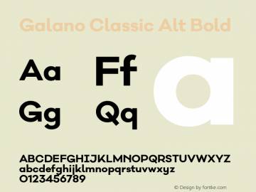 Galano Classic Alt Bold Version 1.000;PS 001.001;hotconv 1.0.56 Font Sample