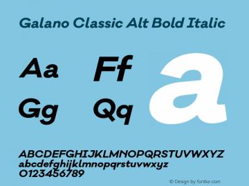 Galano Classic Alt Bold Italic Version 1.000;PS 001.001;hotconv 1.0.56 Font Sample