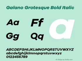 Galano Grotesque Bold Italic Version 1.000;PS 001.001;hotconv 1.0.56 Font Sample