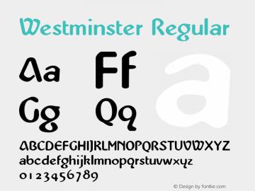 Westminster Regular Print Artist: Sierra On-Line, Inc. Font Sample