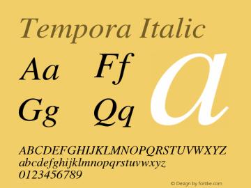 Tempora Italic Version 1.0 Font Sample