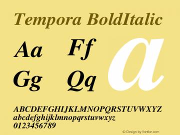 Tempora BoldItalic Version 1.0 Font Sample