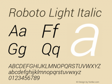 Roboto Light Italic Version 1.100141; 2013图片样张
