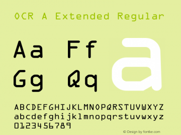OCR A Extended Regular Version 1.80 Font Sample