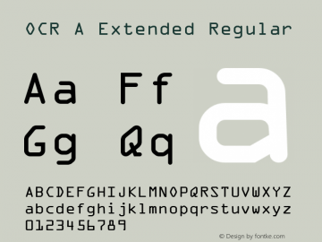 OCR A Extended Regular Version 1.00 Font Sample