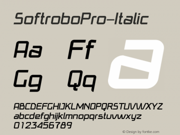 SoftroboPro-Italic ☞ Version 1.003 2009;com.myfonts.easy.koval.softrobo-pro.italic.wfkit2.version.3rn6 Font Sample