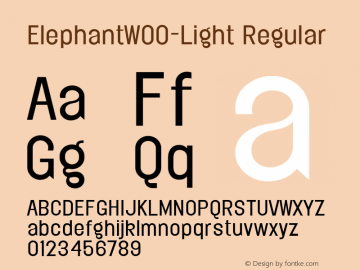 ElephantW00-Light Regular Version 1.00 Font Sample