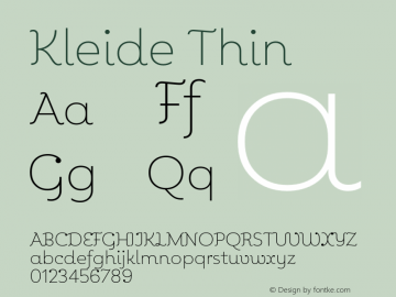 Kleide Thin Version 1.000; initial release Font Sample