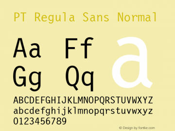 PT Regula Sans Normal 1.0 Wed Nov 09 03:21:00 1994 Font Sample