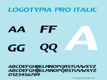 Logotypia Pro Italic Version 2.101;PS 002.001;Core 1.0.38 Font Sample
