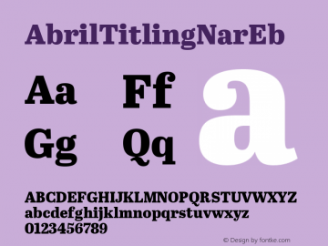 AbrilTitlingNarEb ☞ Version 1.000;com.myfonts.easy.type-together.abril-titling.narrow-eb.wfkit2.version.4aFb Font Sample