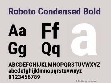 Roboto Condensed Bold Version 2.000980; 2014 Font Sample