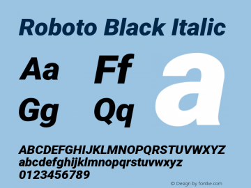 Roboto Black Italic Version 2.1289图片样张