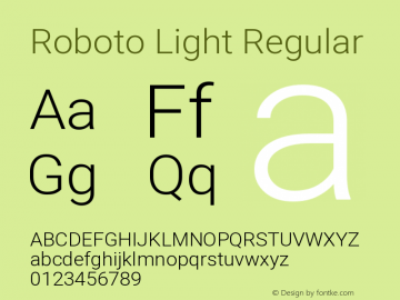 Roboto Light Regular Version 2.1289图片样张