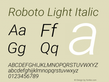 Roboto Light Italic Version 2.1289图片样张