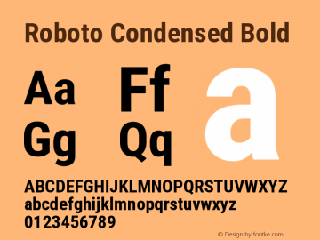 Roboto Condensed Bold Version 2.1289 Font Sample