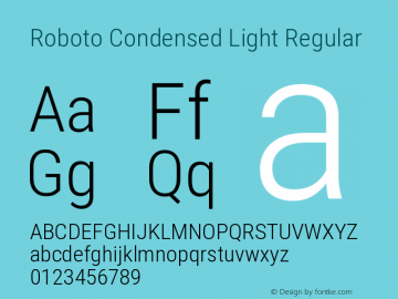 Roboto Condensed Light Regular Version 2.1289图片样张