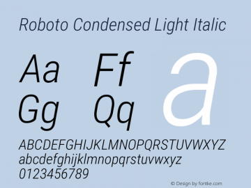 Roboto Condensed Light Italic Version 2.1289图片样张
