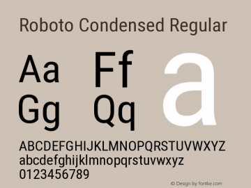 Roboto Condensed Regular Version 2.1289 Font Sample