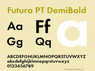 Futura PT DemiBold Version 1.700 Font Sample