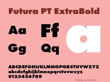 Futura PT ExtraBold Version 1.700 Font Sample