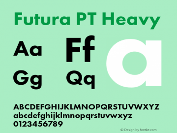 Futura PT Heavy Version 1.700 Font Sample