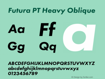 Futura PT Heavy Oblique Version 1.700 Font Sample