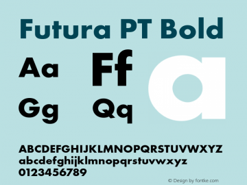 Futura PT Bold Version 1.700 Font Sample