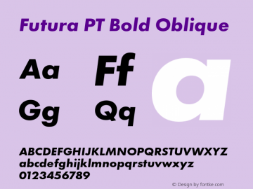 Futura PT Bold Oblique Version 1.700 Font Sample