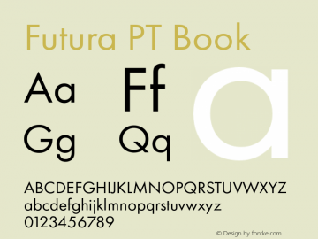 Futura PT Book Version 1.700 Font Sample