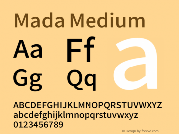Mada Medium Version 0.3 Font Sample