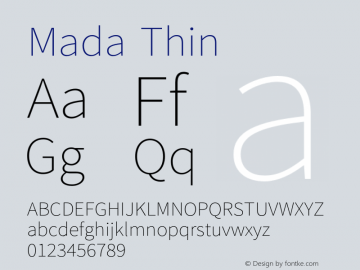 Mada Thin Version 0.3 Font Sample