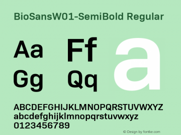 BioSansW01-SemiBold Regular Version 1.00图片样张