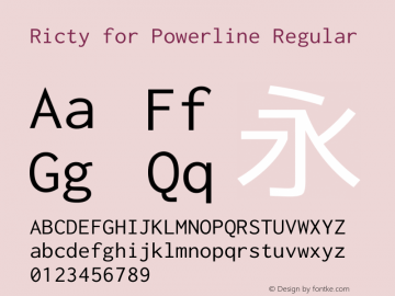 Ricty for Powerline Regular Version 3.2.4图片样张