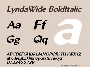 LyndaWide BoldItalic Altsys Fontographer 4.1 5/10/96 Font Sample