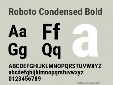 Roboto Condensed Bold Version 2.131 Font Sample