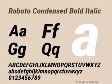 Roboto Condensed Bold Italic Version 2.131 Font Sample
