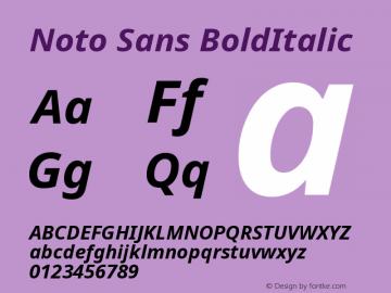 Noto Sans BoldItalic Version 1.06 Font Sample
