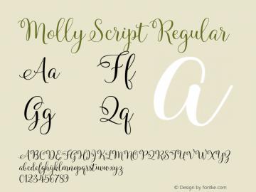 Molly Script Regular Version 001.001图片样张