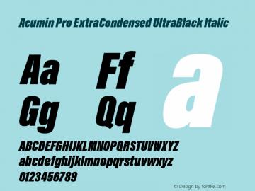 Acumin Pro ExtraCondensed UltraBlack Italic Version 1.011 Font Sample