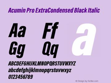 Acumin Pro ExtraCondensed Black Italic Version 1.011 Font Sample