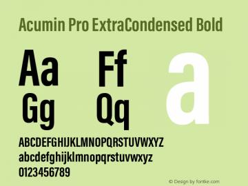 Acumin Pro ExtraCondensed Bold Version 1.011 Font Sample