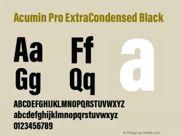 Acumin Pro ExtraCondensed Black Version 1.011 Font Sample